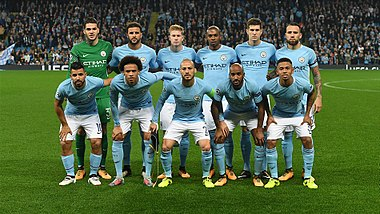 Manchester City Players Before A Uefa Champions League Match In  Top Row Left To Right Ederson Walker De Bruyne Fernandinho Stones Otamendi