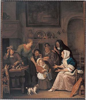 The Feast of Saint Nicholas - Two versions exist of Jan Steen's Sinterklaasavond. The best known copy of these (now kept in the Rijksmuseum Amsterdam) was made for a catholic. The girl in the center was given a doll dressed up as a saint. In this version, apparently made for a protestant, the girl was given a simple round piece of gingerbread. It is the Museum Catharijneconvent in Utrecht.