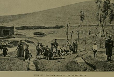An early turquoise mine in the Madan village of Khorasan during the early 20th century Madan Turquoise Mines.jpg
