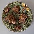 Mafra Portuguese majolica toads and pond life wall plate c 1890.jpg