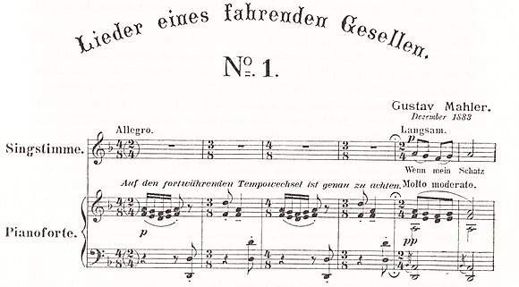 The opening of Lieder eines fahrenden Gesellen, published 1897 in a version for voice and piano Mahler song cycle.jpg
