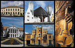 Montage including images of downtown Makó