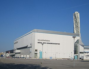 "Malmömässan - The former building, known as ""Hall 7"" (pictured in May 2007)"