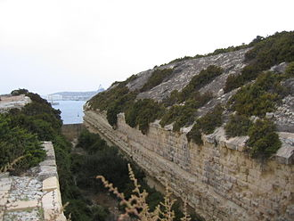 Polygonal fort - The south ditch at Fort Delimara, Malta