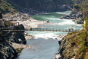 Mandakini River - Image: Mandakini joins Alaknanda at Rudraprayag