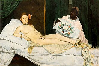 Rokeby Venus - Édouard Manet's Olympia, 1863. Manet was enormously influenced by the paintings of Velázquez, and in Olympia a kind of paraphrasing of the eroticism and the boldness of the subject clearly shows the legacy of the Rokeby Venus.