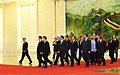 Manmohan Singh and the other Heads of StateGovernment arriving for the group photographs before the inauguration of the 7th ASEM Summit at the Great Hall of the People, in Beijing, China on October 24, 2008.jpg