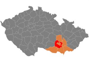 Vị trí huyện Brno-venkov trong vùng Nam Moravia trong Cộng hòa Séc