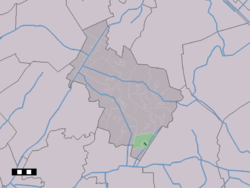 The village centre (dark green) and the statistical district (light green) of Nieuw-Balinge in the municipality of Midden-Drenthe.