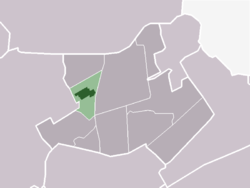 The town centre (dark green) and the statistical district (light green) of Abbekerk in the municipality of Noorder-Koggenland.
