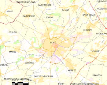 Map of the commune of Niort
