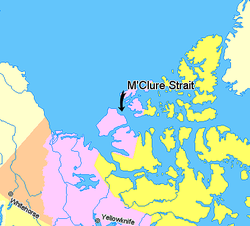 Map indicating McClure Strait, Northwest Territories, Canada.png