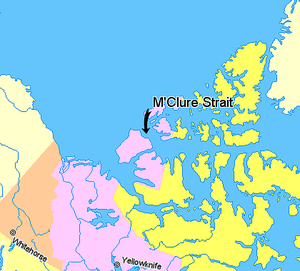 M'Clure Strait - Image: Map indicating Mc Clure Strait, Northwest Territories, Canada