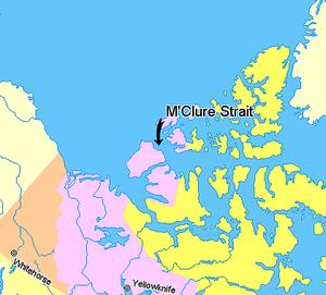 M'Clure Strait - Image: Map indicating Mc Clure Strait, Northwest Territories, Canada