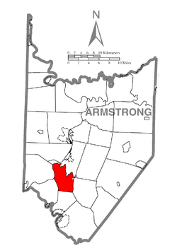 Map of Armstrong County, Pennsylvania highlighting Bethel Township
