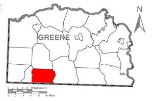 Gilmore Township, Greene County, Pennsylvania - Image: Map of Gilmore Township, Greene County, Pennsylvania Highlighted