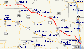 Map of Indiana Hwy 60