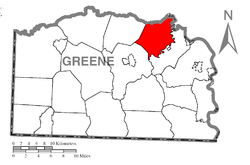 Location of Morgan Township in Greene County