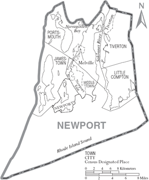 Newport County, Rhode Island - Map of Newport County, Rhode Island showing cities, towns, and CDPs