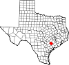 State map highlighting Lavaca County