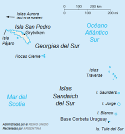 Georgia Del Sur Mapa.Disputa De Las Georgias Del Sur Y Sandwich Del Sur