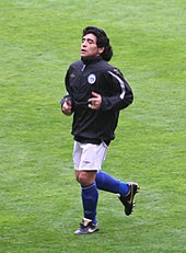 9d4271edb Maradona at the Soccer Aid charity game at Old Trafford