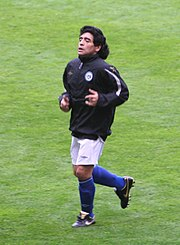 Maradona at the Soccer Aid friendly match in 2006, after losing weight