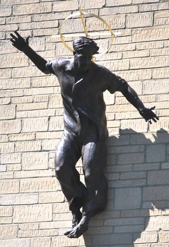 """Uckfield - Statue of Jesus Christ by Marcus Cornish, Our Lady Immaculate and St Philip Neri church, dubbed """"Jesus in Jeans"""" by the media"""