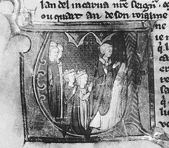 Amalric of Jerusalem - The marriage of Amalric I of Jerusalem and Maria Comnena at Tyre in 1167, as depicted in a MS of the Histoire d'Outremer, painted in Paris c. 1295–1300. (Bibliothèque Municipale, Epinal).