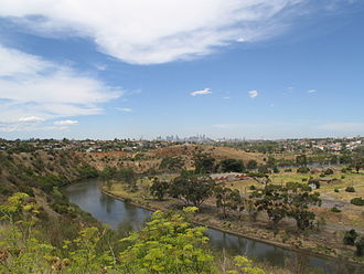 Maribyrnong River - The Maribyrnong River as it flows past the Melbourne suburb of Essendon West