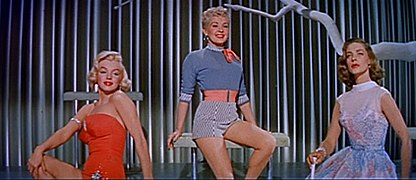 Marilyn Monroe, Betty Grable and Lauren Bacall in How to Marry a Millionaire trailer.jpg