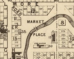 Victoria Square, Christchurch - Map of Market Place from 1875