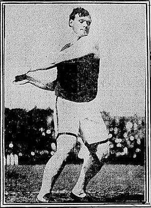 1908 College Football All-America Team - Bill Horr hurling the discus.