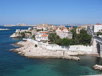 "Marseille - View of the ""Petit Nice"" on Marseille's corniche (7th arrondissement) with the Frioul archipelago and the Château d'If in the background"