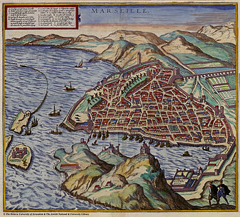 Map of Marseille in 1575, in the foreground No...