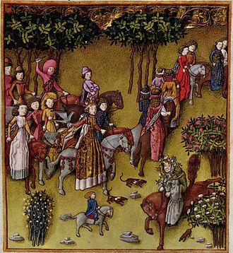 Retinue - Queen Helen with her retinue on the way to the Shrine of Venus Cloacina, 15th century