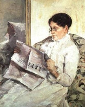 "Mary Cassatt - Reading ""Le Figaro"" by Mary Cassatt (1878), Collection Mrs. Eric de Spoelberch, Haverford, Pennsylvania"