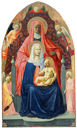 Masolino da Panicale - Madonna and Child, Saint Anne and the Angels