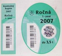 Contrassegno di pedaggio slovacco del 2007, non aperto, con il
