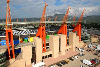 Mbombela Stadium - Aerial close up view of the roof support columns that resemble giraffe