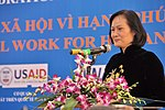 Mdm Nguyễn Thị Hằng, President of Vietnam Vocational Training Association USAID Supports Social Work Education, speaks at the Social Work Day event in Hanoi (8168707400).jpg