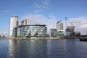 MediaCityUK under construction in Salford Quays, Greater Manchester