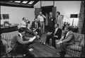 Menahem Begin and Anwar Sadat with members of the Israeli and Egyptian delegation at Camp David. - NARA - 181384.tif