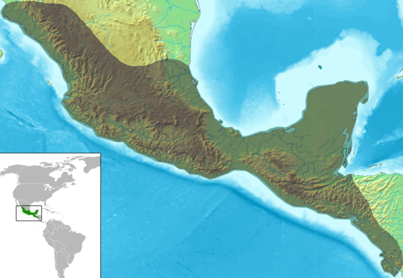 Archivo:Mesoamérica relief map with continental scale.png