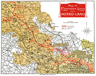 "Metro-land - Map of ""Metro-land"", from the 1924 Metro-land booklet published by the Metropolitan Railway"