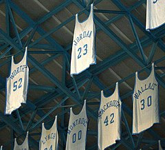 Jordan s number 23 jersey among others in the rafters of the Dean Smith  Center c8c169b0d