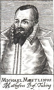 Michael Maestlin, first to publish a decimal approximation of the golden ratio, in 1597