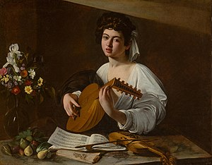 Jacques Arcadelt - The Lute Player, by Caravaggio; the performer is reading music by Arcadelt.