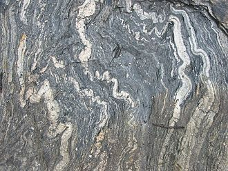 Metamorphic rock - Folded foliation in a metamorphic rock from near Geirangerfjord, Norway