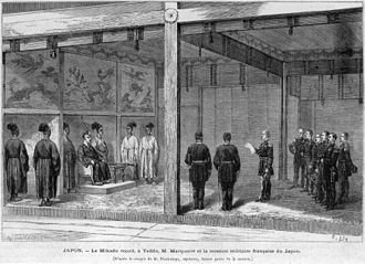 French military mission to Japan (1872–80) - Reception by the Meiji Emperor of the Second French Military Mission to Japan, 1872.